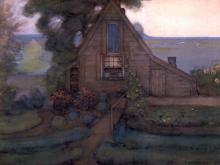 3658_50х38 Пит Мондриан - Треугольный фасад дома с польдером в голубых тонах