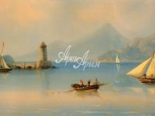 2009_100х48 Айвазовский И.К. - Морской пролив с маяком