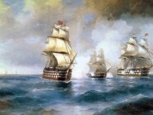 2293_60x37 Айвазовский И.К. - Бриг Меркурий, атакованный двумя турецкими кораблями