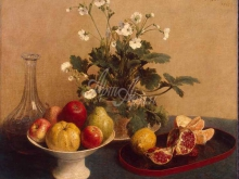 1465_55х44_Фантен-Латур, Анри - Цветы, ваза с фруктами и графин.