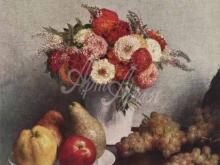 1466_60х51_Анри Фантен-Латур. Натюрморт с цветами и фруктами.