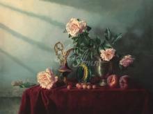 3406_60х45_А.Н.Антонов - Натюрморт с персиками, розами