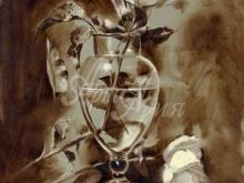 3429_70х53_А.Н.Антонов - Натюрморт с розой (сепия)