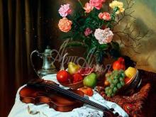 3443_75х68_А.Н.Антонов - Натюрморт со скрипкой и цветами