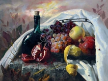 3446_80х64_А.Н.Антонов - Натюрморт с фруктами и бутылкой