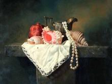 3451_80х80_А.Н.Антонов - Натюрморт с морскими раковинами, жемчугом и гранатом