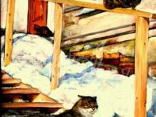 Март Коты 40x70 Алекс Гебель Холст. Масло. 28 800 руб.
