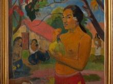 """Копия картины Поля Гогена """"Женщина, держащая плод"""". Картина в раме. Копия написана с оригинала в Эрмитаже"""