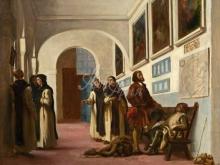 1808_110х84_Э. Делакруа - Христофор Колумб и его сын в монастыре францисканцев Ла Рабида