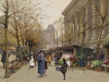 Эжен Гальен - Лалу. Цветочный рынок на Маделайне