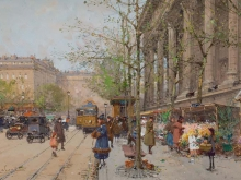 Эжен Гальен - Лалу. Цветочный рынок на площади Мадлен