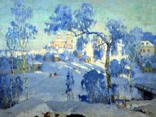 2440_55х41_К.И. Горбатов - Зимний пейзаж с церковью. 1925