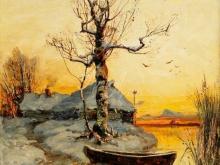 2058 _ 50х61 Ю.Ю. Клевер «Избушка на краю озера зимой»
