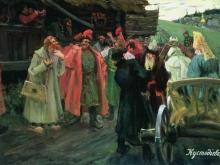 boris-kustodiev-u-kruzhala-streltsyi-gulyayut