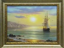Холст, масло. 30х40 Волна, корабль на восходе в золотой раме- 8500р.