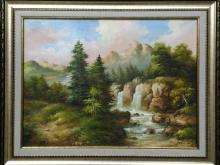 Горы и водопад. Холст, масло. 30х40см (7000руб)