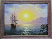 Холст, масло. 30х40 Волна, корабль на восходе - 8500р.