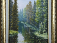 Лесная река. Холст, масло. 30х24см (5600руб)