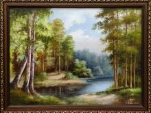Река в лесу. Холст, масло . 30х40см (7000руб)