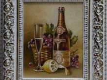 Лимон и игристое вино. Холст, масло. 30х24см (8000руб)