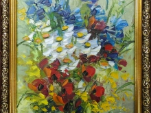 Полевые цветы. Картон, масло 19х14см (2300руб)