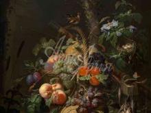 1481_100х125_Абрахам Миньон - Натюрморт с фруктами, рыбой и гнездом
