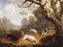 1177_50х60 Чарльз Тоун. Охотники с собаками, идущими по следу