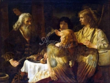 1294_45х37_Рембрандт ван Рейн , Ян - Авраам и три ангела