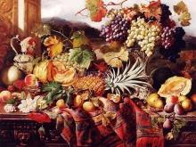 1273_60x47 Уильям Даффилд. Натюрморт с различными фруктами и  ковер с пейзажем