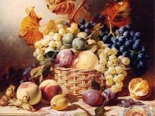 1274_47x60 Уильям Даффилд. Натюрморт с корзиной фруктов на стол с ковром