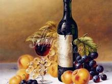 1277_47x60 Рой Ходриен. Натюрморт с Шато Брион и фруктами на мраморе