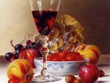 1278_49x60 Рой Ходриен. Натюрморт с красным вином и вишнями на скатерти