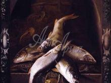1281_48x60 Джейкоб Джиллиг . Натюрморт с речной рыбой в каменной нише