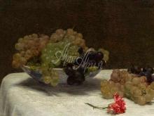 1471_100х65_Анри Фантен-Латур - Натюрморт с виноградом и гвоздикой