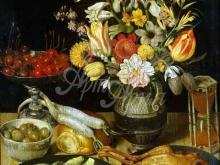 1509_55х42_Флегель, Георг - Натюрморт с цветами и закуской