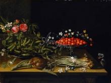 1510_90х67_Французский живописец 17-го века - Натюрморт с клубникой