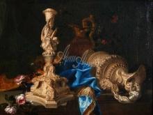 1732_70х54_Комте Меиффрен_Натюрморт с подсвечником из серии Подвиги Геракла и двумя кувшинами.
