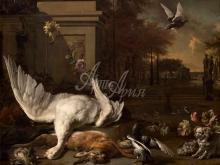 1741_100х83_Ян Веникс - Натюрморт с лебедем и добычей у усадьбы