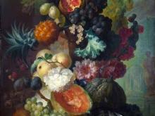 1874_100х78_Ян ван Ос - Натюрморт с фруктами, цветами и рыбой