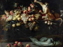 1891_60х46_Ян Рос - Натюрморт с фруктамии и овощами с двумя обезъянками