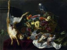 1892_70х52_Ян Фейт - Натюрморт с фруктами, битой дичью и попугаем