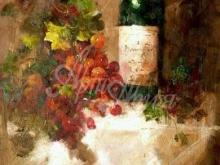 3227_60x39_Натюрморт - Бутылка Вина и виноград