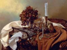 3450_80х80_А.Н.Антонов - Натюрморт с виноградом и свечей