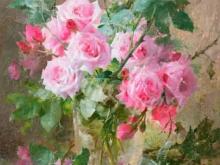 3599_Франс Мортельманс - Натюрморт из роз в стеклянной вазе