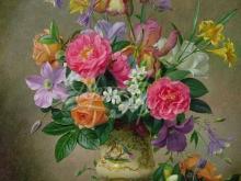 3604_Альберт Уильямс - Пионы и ирисы в керамической вазе