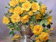 3606_Альберт Уильямс - Розы в серебряной вазе