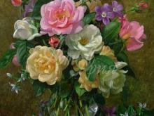 3607_Альберт Уильямс - Розы в стеклянной вазе