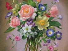 3608_Альберт Уильямс - Розы и пионы в вазе