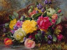 3609_Альберт Уильямс - Розы на траве у пруда
