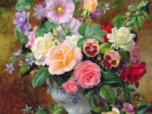 3611_Альберт Уильямс - Розы, анютины глазки и другие цветы в вазе
